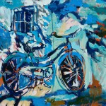 """Blue Sky Bicycle II/ Oil on canvas/ 30""""x36""""/ 2015"""