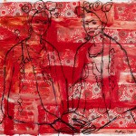 """Red Fridas/ Ink on paper/ 30""""x44""""/ 2015"""